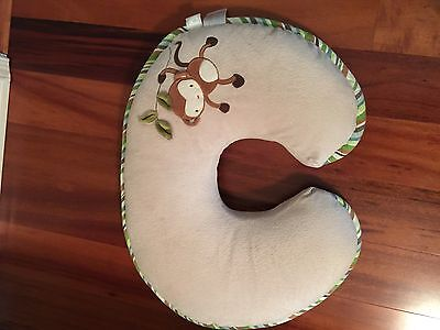 Boppy Nursing Pillow With Zip Off Plush Cover; Tan With Monkey