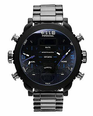 Top Plaza Mens 30M Waterproof All Black Sport Watch Steel Band Dual Time LCD -