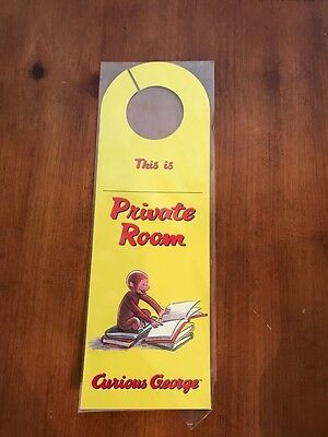 Curious George Plastic Door Hanger Two-Sided New This Is (Name)Private Room