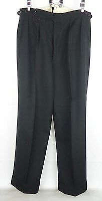 Vtg Pleated Button Fly 40s / 50s style Wool Trousers Turn Ups  W34 DY98
