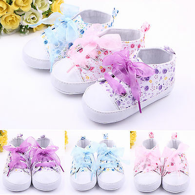 Baby Girls Soft Sole Crib Shoes Toddler Lace Up Sneakers Prewalkers Boots 0-12M