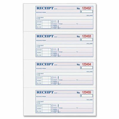 Adams Money And Rent Receipt Book, 3-Part, Carbonless, White/Canary/Pink,7