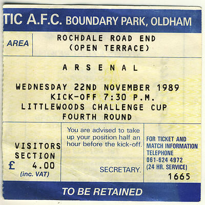 Ticket : Oldham Athletic v Arsenal 22/11/1989 League Cup