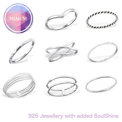 Sterling Silver 925 Simple Chevron Stacking Midi Ring Toe Knuckle Top Finger