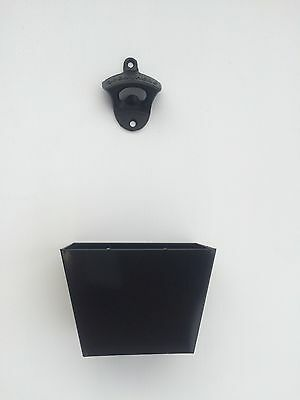 Wall Mounted Black Beer Bottle Opener in Cast Iron with Cap Catcher, Open here