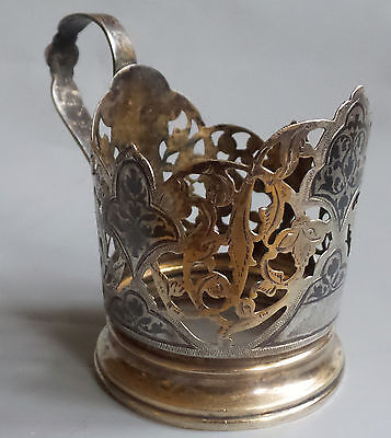 Unusual glass holder Antique Soviet Silver  hallmarked 875 Russia USSR for lady