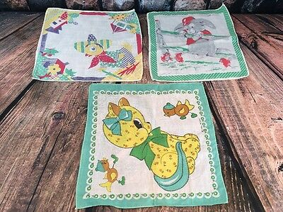 3 VTG Childrens Handkerchief Tom Lamb Sombrero Duck Baseball Bunny Calico Kitty