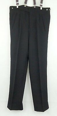 Vtg Pleated Button Fly Black 1940s / 1950s style Wool Trousers  W31 DZ01