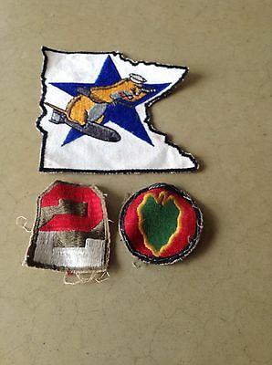 Lot 3 VINTAGE CLOTH BADGES - PATCHES MILITARY OTHER ??