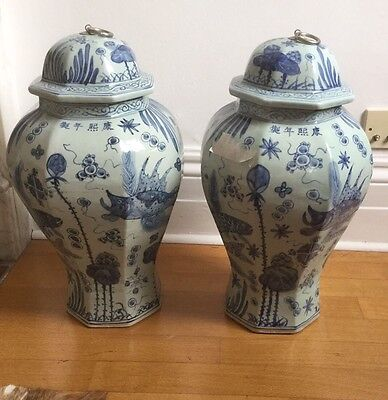A Pair Of Antique Chinese Blue and White Porcelain Temple Vases C.1863