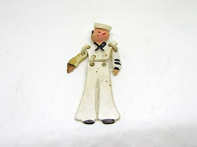 Antique Or Vintage Sailor Pin Brooch_Marionette Toy Style Early Plastic?_Unique