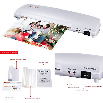 Hot Cold 13 Inch Document Photo BubbleFree Laminating Heat Roller And 20 Pouches