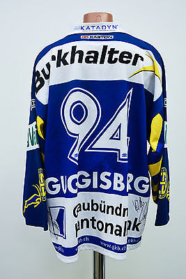 Hc Davos Switzerland Swiss Signed Match Worn Issue Ice Hockey Shirt Guggisberg