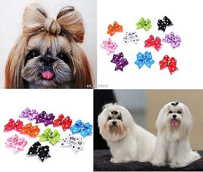 10X Assorted Pet Hair Bows Rubber Band Dogs Puppy Headdress Grooming Accessories