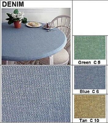 "Tablecloth Bistro 24"" to 35"" Elastic Edge Fitted Vinyl Table Cover Tan Denim"