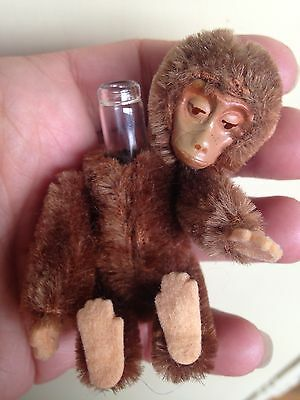 "RARE 1920's Schuco Miniature  3""  Jointed Mohair Perfume Bottle MONKEY Brown NR"