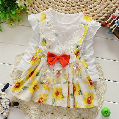 1pc infant baby girl clothes long sleeve dress daily party TUTU dress sunflower
