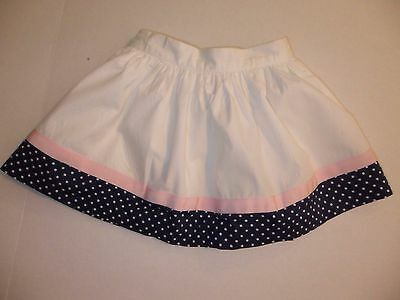 Janie and Jack Girls Capri Villa Lined Cotton Skirt, Navy Pink Hem, 18-24 Mos