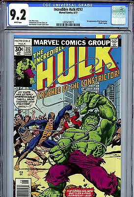 Incredible Hulk #212 (1977) Marvel CGC 9.2 NM- White Pages 1st Constrictor