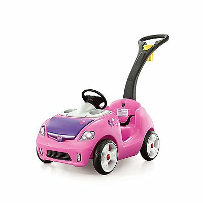 Foldable Long Handle Durable Outdoor Car for Toddle Step2 Whisper Ride II Pink