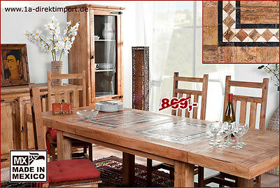 mexico esstisch tisch pinie marmor mosaik ausziehbar. Black Bedroom Furniture Sets. Home Design Ideas