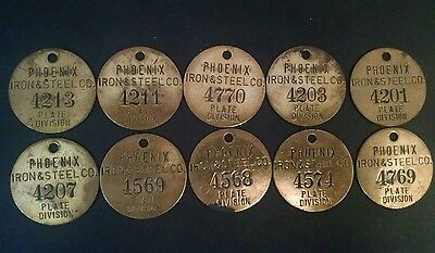 Vintage Tool Check Brass Tag: PHOENIX IRON & STEEL CO; Phoenixville, PA
