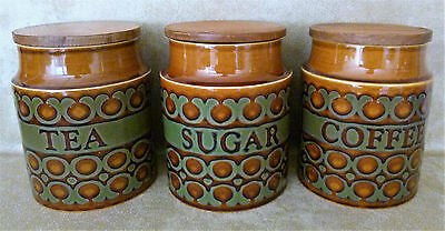 Hornsea Storage Jars 15 cm approx Tall BRONTE Pattern TEA SUGAR COFFEE