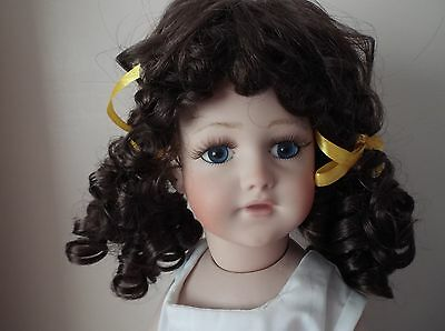 BUY 1 GET 1 FREE  11-12 inch ECONOMY  DOLLS WIG IN CURLY BUNCHES DARK BROWN