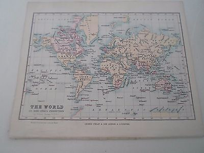 Antique Map 1890 ~ THE WORLD - From Philips Atlas For Beginners  §1