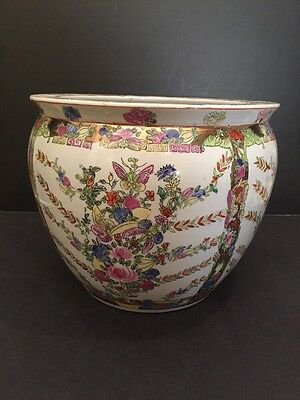 Asian Chinese Porcelain Famille Rose Medallion Gold Fish Bowl Planter Jardiniere