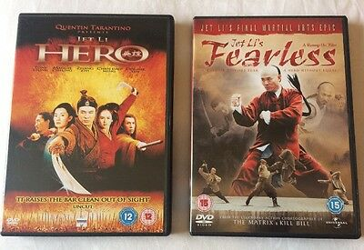 2x Jet Li Martial Arts Movies DVD Bundle : Hero + Fearless **FREE UK DELIVERY**
