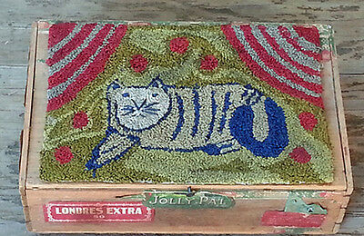 Primitive Needle Punch,Needlepunch,Punch Needle,Cat,Wood Cigar Box,Folk Art Cat