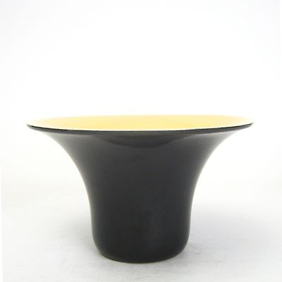 California Porcelain Faience Yellow and Black Gloss Flared Bowl  Inv. #FM