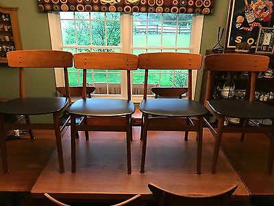 4 Vintage Mid Century Danish Modern Teak Wood Farstrup Dining Chairs - Great!