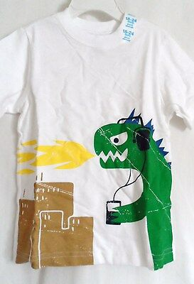 Boys 18-24 Month White Green Dragon Yellow Flame Shirt Nwt The Children's Place