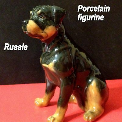 Rottweiler porcelain figurine dog realistic Souvenirs from Russia hand painted