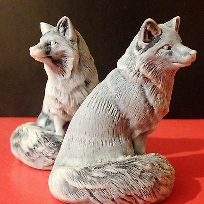 Foxes figurines marble chips Souvenirs from Russia miniature Arctic Fox Alaska