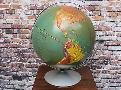 """Vintage Nystrom Rotating 16"""" Sculptural Relief World Globe w/ Raised Terrain"""