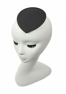 Black Teardrop Fascinator Hat Base with Hair Clips Available in 15 Colors