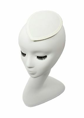 White Teardrop Fascinator Hat Base with Hair Clips Available in 15 Colors