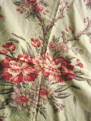 Vintage Fabric  ANTIQUE Cotton LOT 2  1800s Cherry Blossoms TULIPS roses Floral