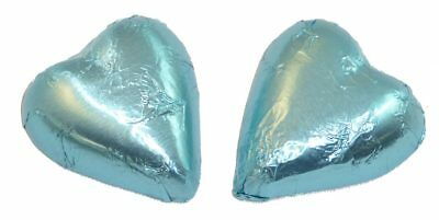 Chocolate Gems - Chocolate Hearts - Ice Blue Foil (500g bag / approx 60 pieces)