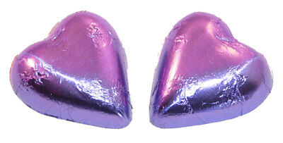 Chocolate Gems - Chocolate Hearts - Mauve Foil (500g bag / approx 60 pieces)