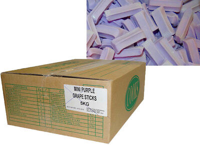 Premium Mini Fruit Sticks Bulk - Purple with a Grape Flavour (5kg box)