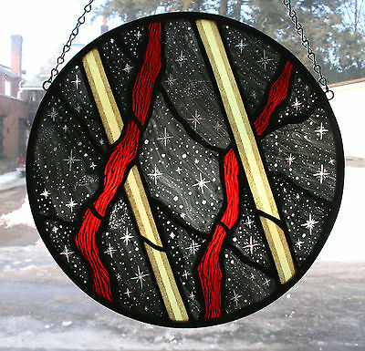 Stained Glass,Hand Painted,Kiln Fired, Modern Design Panel # 3000-01
