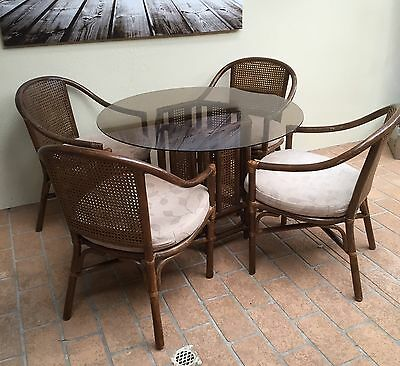 Vintage Cane & Tinted Glass Dining Suite 5 Pce Patio Chairs Table Wicker