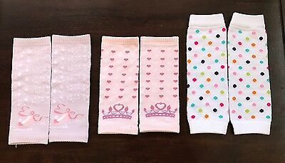 LOT of 3 Pairs Infant Baby Leg Warmers Disney Princess & White w/ Polka Dots