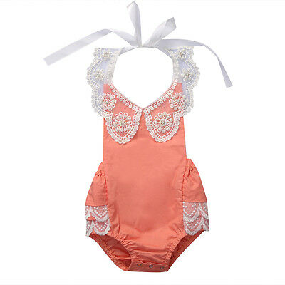 Newborn Baby Girl Floral Lace Bodysuit Romper Jumpsuit Clothes Outfit Sunsuit US