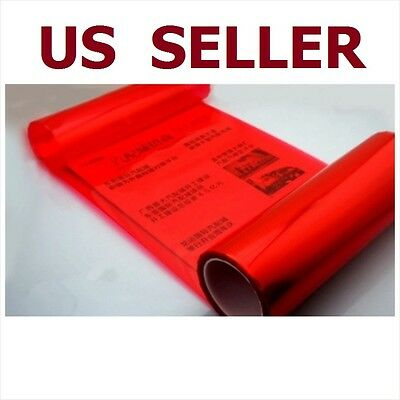 "12"" x 48"" Car Tint Headlight Taillight Fog Light Vinyl Smoke Film Sheet Red"