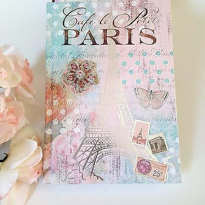 POOCH & SWEETHEART Writing Journal Lined Diary Paris Eiffel Tower French Roses